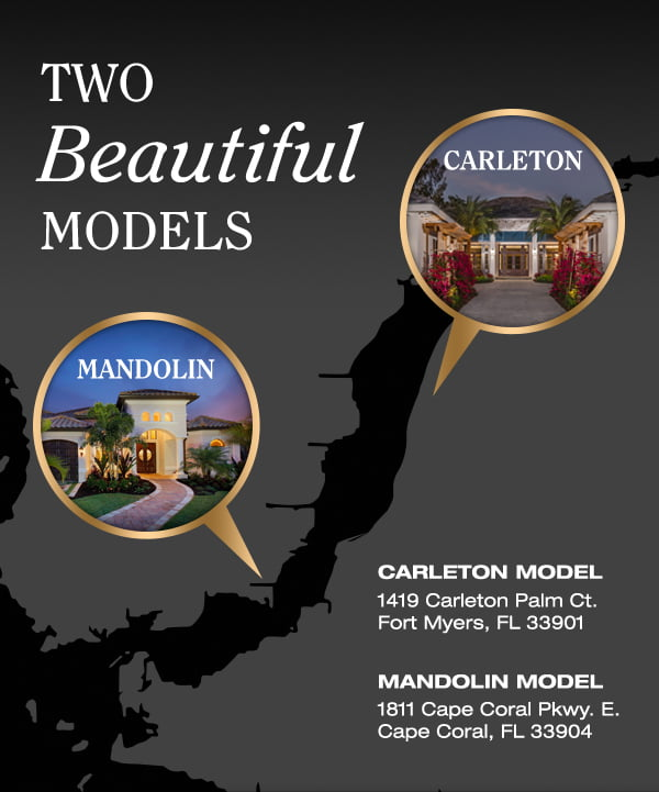 Two beautiful models available to tour - Careleton and Mandolin